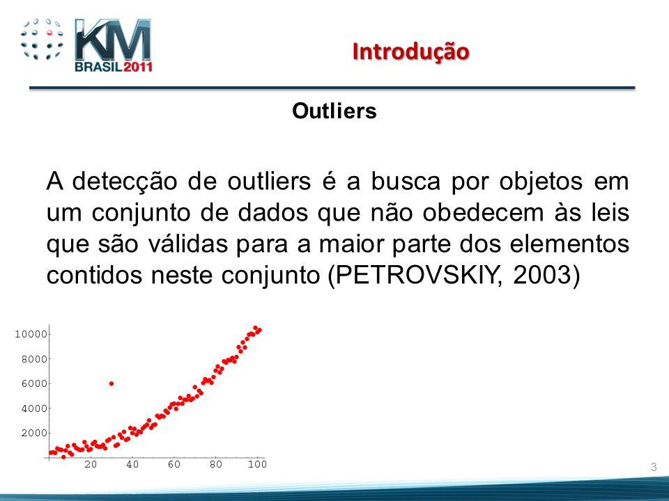 Introdução Outliers A detecção de outliers é a busca por objetos em um conjunto de dados que não obedecem às leis que são válidas para a maior parte dos elementos contidos neste conjunto (PETROVSKIY, 2003) 3