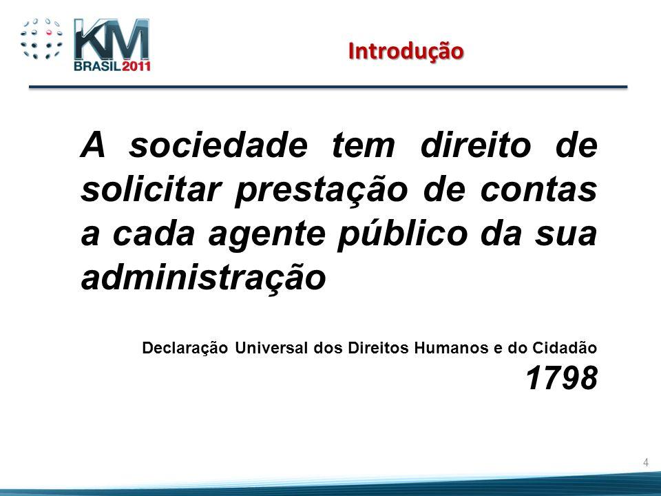 Introdução A sociedade tem direito de solicitar prestação de contas a cada agente público da sua administração Declaração Universal dos Direitos Humanos e do Cidadão 1798 4