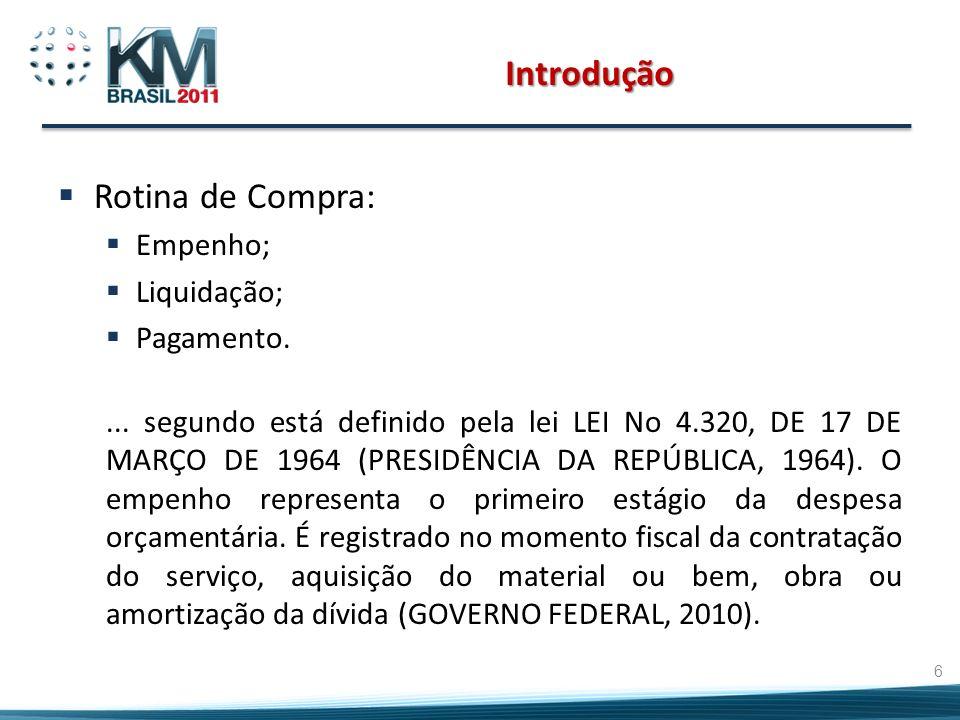 Introdução Rotina de Compra: Empenho; Liquidação; Pagamento.... segundo está definido pela lei LEI No 4.320, DE 17 DE MARÇO DE 1964 (PRESIDÊNCIA DA RE