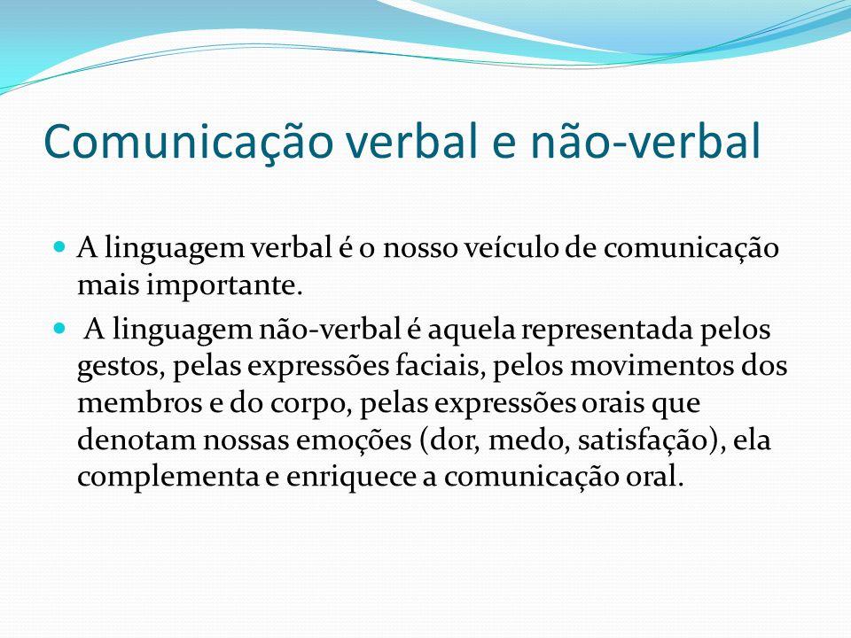 Comunicação verbal e não-verbal A linguagem verbal é o nosso veículo de comunicação mais importante.