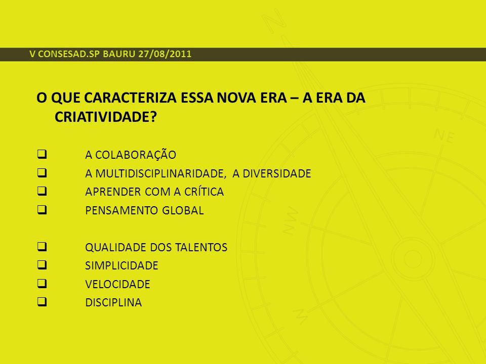 CONTEXTO MUNDIAL ALTA DISPONIBILIDADE DE CAPITAIS ALTA VOLATILIDADE DOS MERCADOS FINANCEIROS NOVAS TECNOLOGIAS SURGEM EM RITMO ACELERADO O CONSUMIDOR ESTÁ NO COMANDO SUSTENTABILIDADE E RESPONSABILIDADE SOCIAL FOCO NA COMPETITIVIDADE V CONSESAD.SP BAURU 27/08/2011
