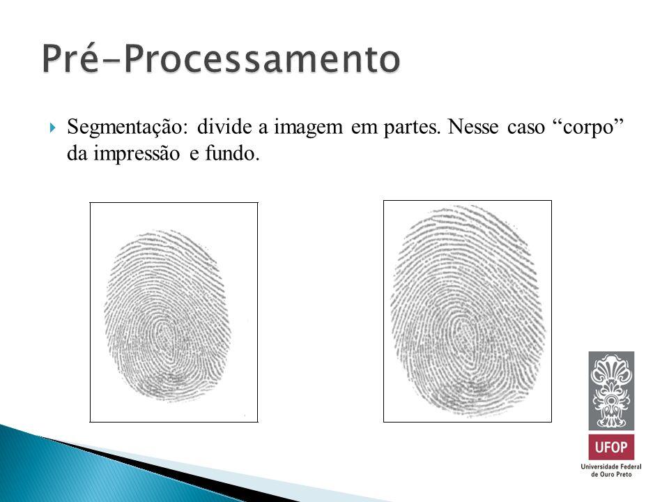 Segmentação: divide a imagem em partes. Nesse caso corpo da impressão e fundo.