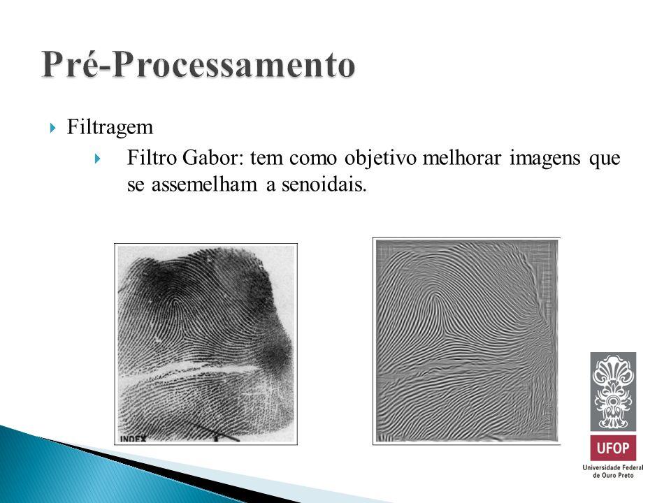 Filtragem Filtro Gabor: tem como objetivo melhorar imagens que se assemelham a senoidais.