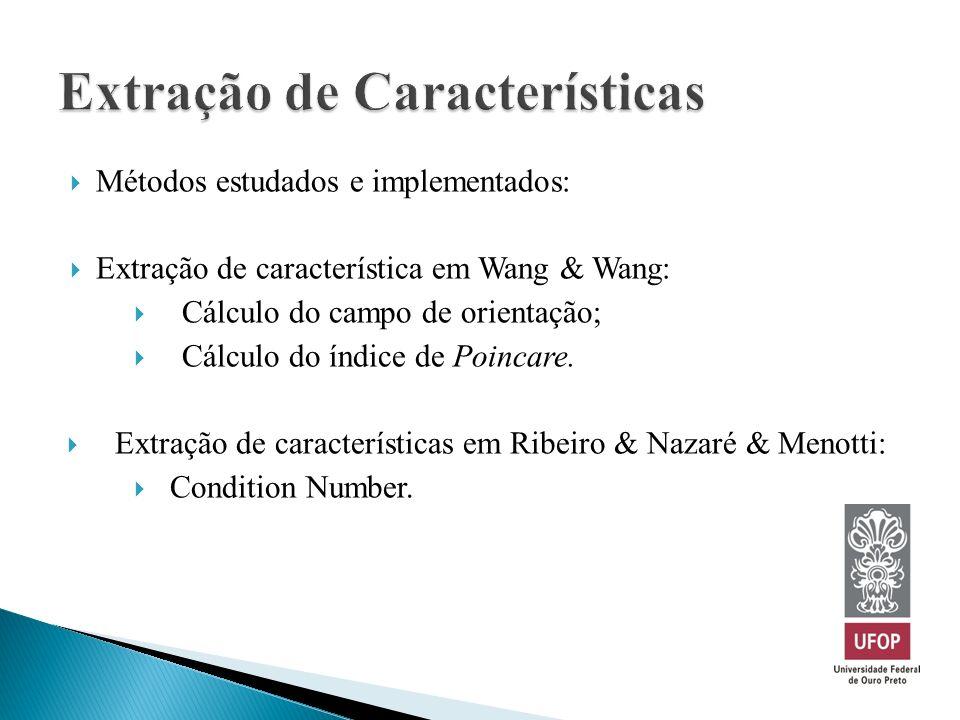 Métodos estudados e implementados: Extração de característica em Wang & Wang: Cálculo do campo de orientação; Cálculo do índice de Poincare. Extração
