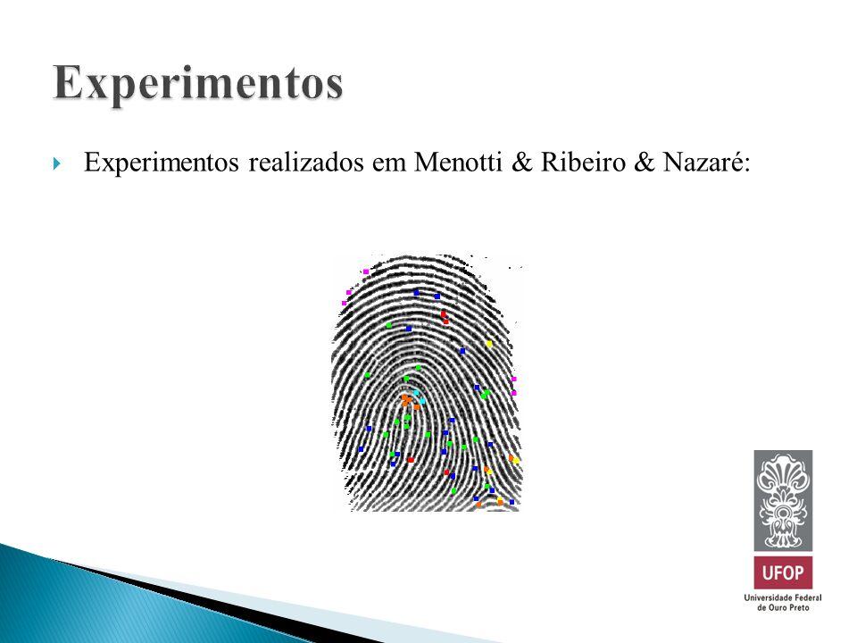 Experimentos realizados em Menotti & Ribeiro & Nazaré: