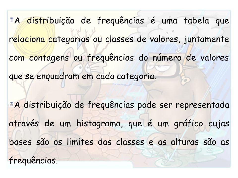 A distribuição de frequências é uma tabela que relaciona categorias ou classes de valores, juntamente com contagens ou frequências do número de valore