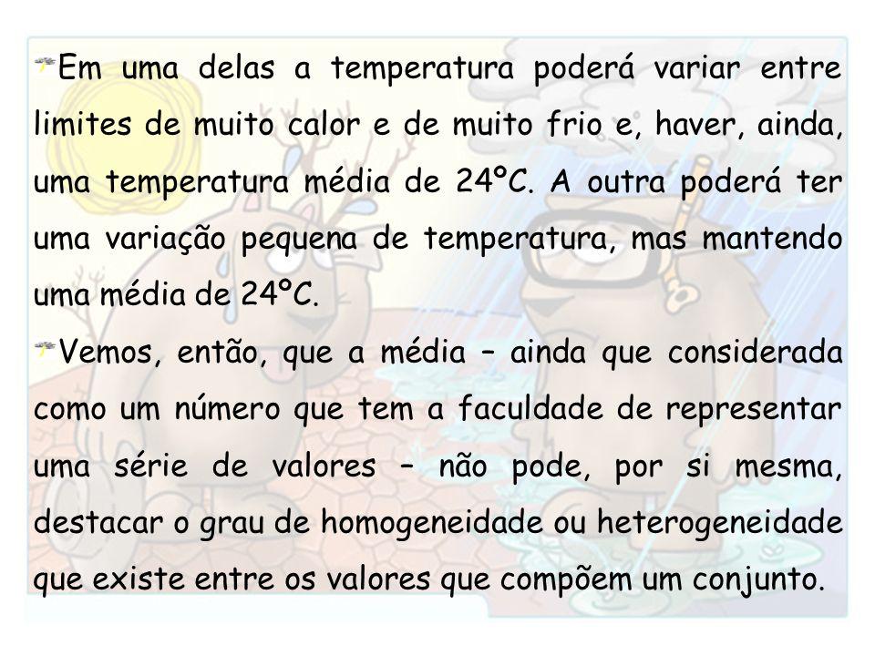 Em uma delas a temperatura poderá variar entre limites de muito calor e de muito frio e, haver, ainda, uma temperatura média de 24ºC. A outra poderá t