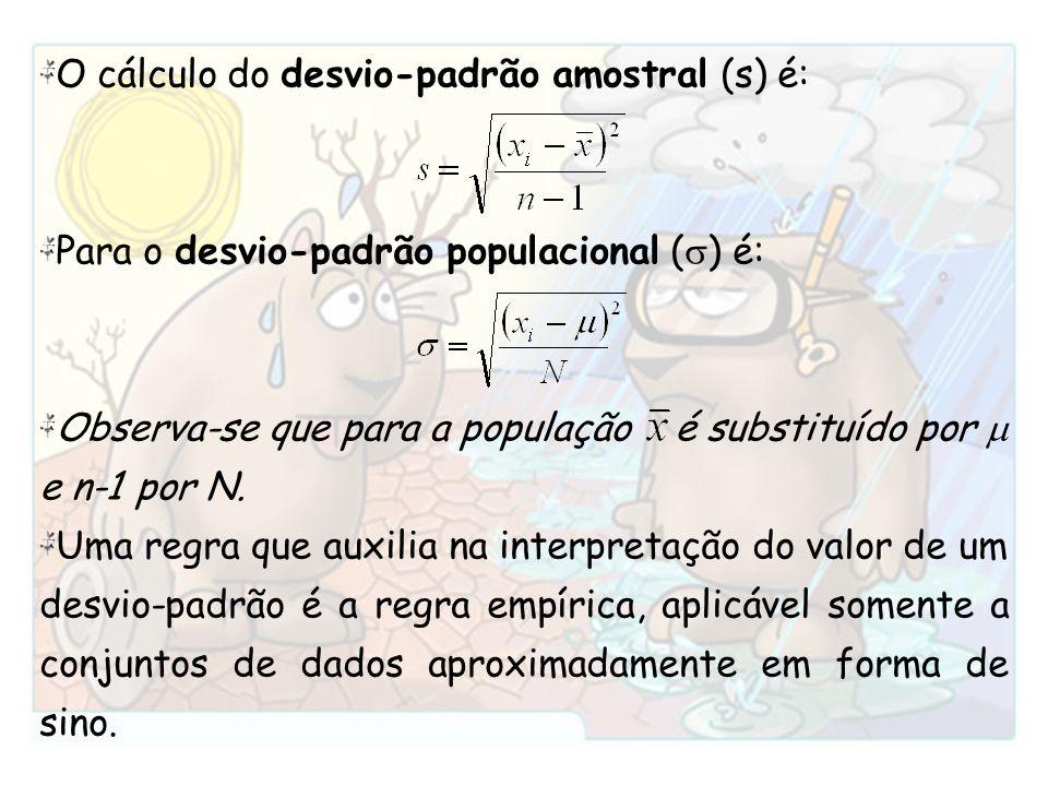 O cálculo do desvio-padrão amostral (s) é: Para o desvio-padrão populacional ( ) é: Observa-se que para a população é substituído por e n-1 por N. Uma