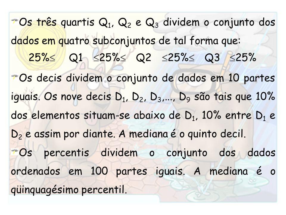 Os três quartis Q 1, Q 2 e Q 3 dividem o conjunto dos dados em quatro subconjuntos de tal forma que: Os decis dividem o conjunto de dados em 10 partes
