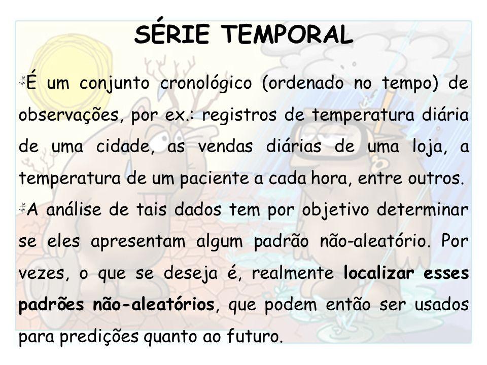 SÉRIE TEMPORAL É um conjunto cronológico (ordenado no tempo) de observações, por ex.: registros de temperatura diária de uma cidade, as vendas diárias