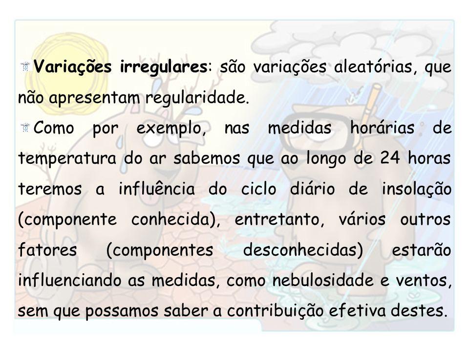 Variações irregulares: são variações aleatórias, que não apresentam regularidade. Como por exemplo, nas medidas horárias de temperatura do ar sabemos