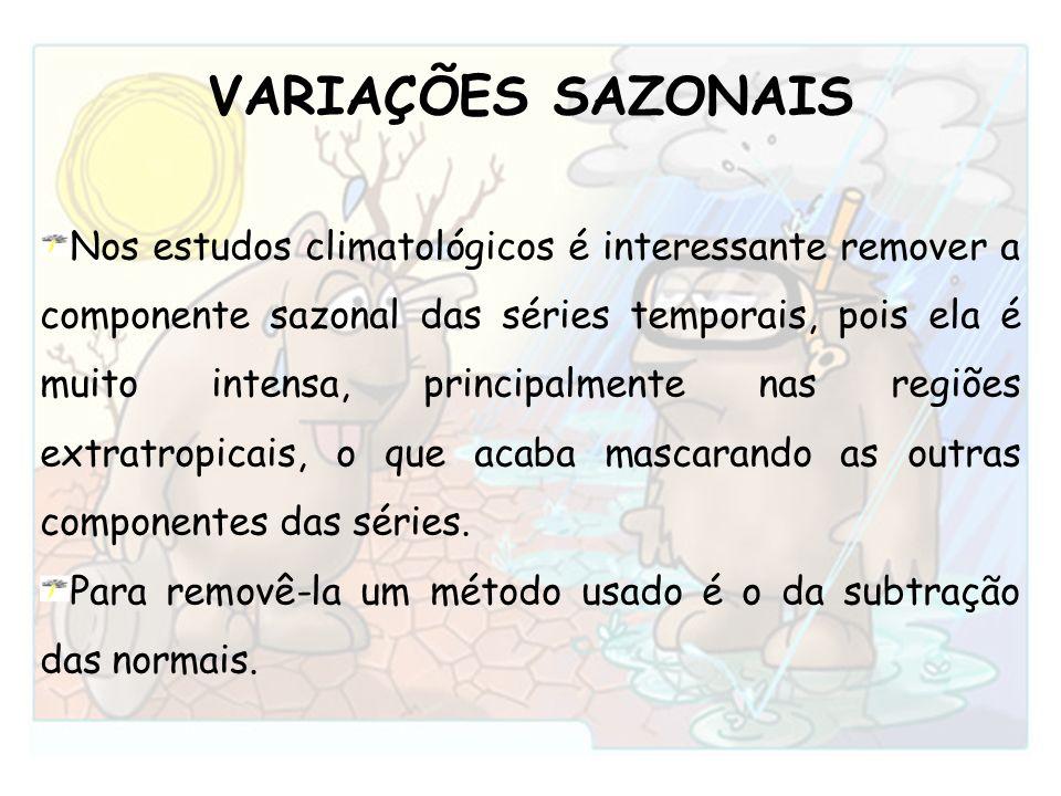 VARIAÇÕES SAZONAIS Nos estudos climatológicos é interessante remover a componente sazonal das séries temporais, pois ela é muito intensa, principalmen