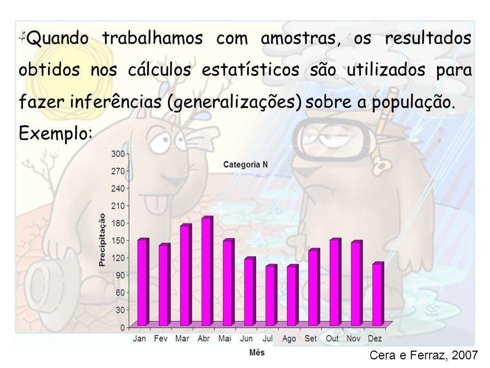 Quando trabalhamos com amostras, os resultados obtidos nos cálculos estatísticos são utilizados para fazer inferências (generalizações) sobre a popula