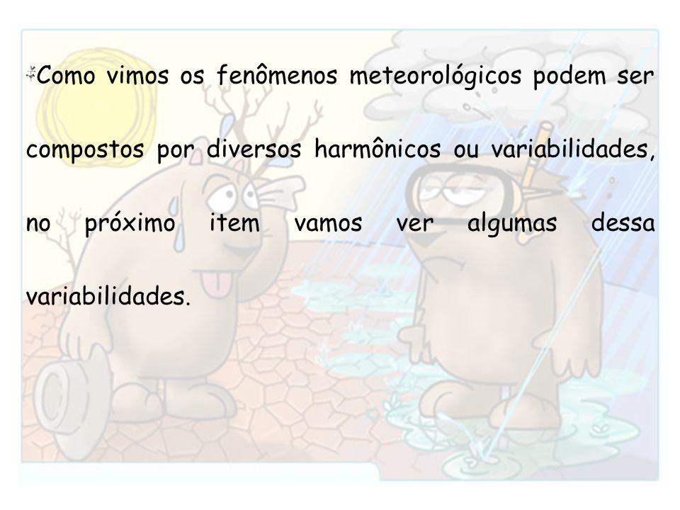 Como vimos os fenômenos meteorológicos podem ser compostos por diversos harmônicos ou variabilidades, no próximo item vamos ver algumas dessa variabil