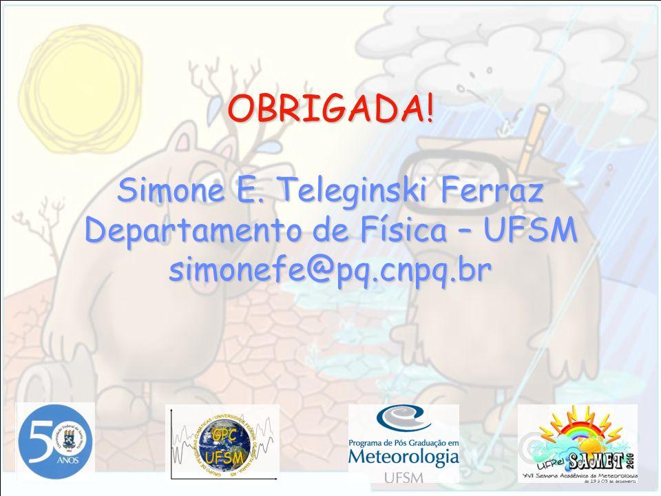OBRIGADA! Simone E. Teleginski Ferraz Departamento de Física – UFSM simonefe@pq.cnpq.br