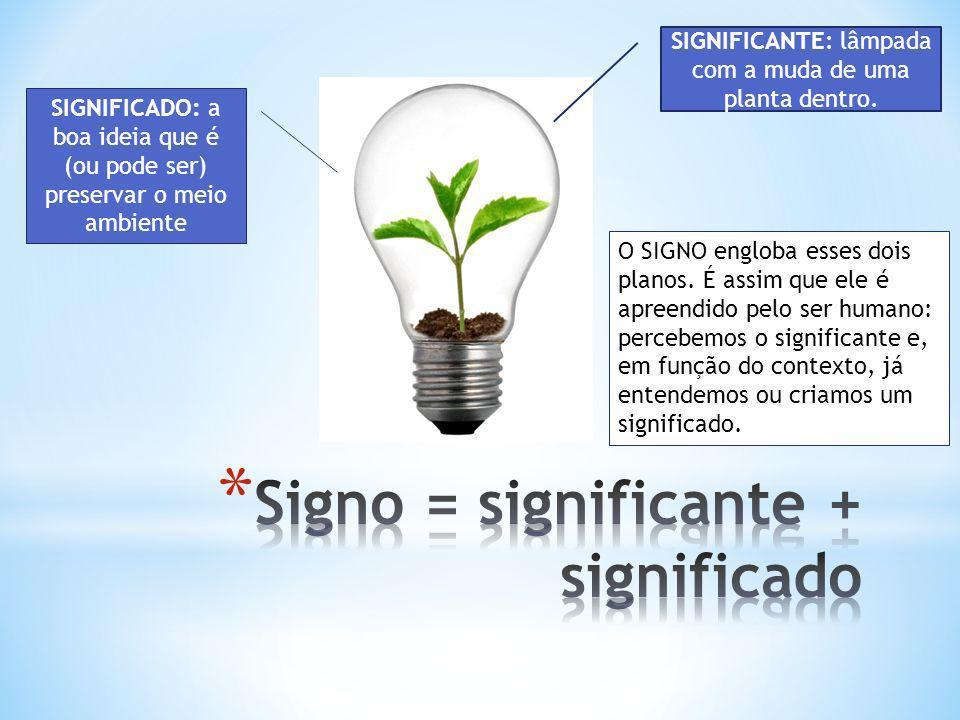 SIGNIFICANTE: lâmpada com a muda de uma planta dentro. SIGNIFICADO: a boa ideia que é (ou pode ser) preservar o meio ambiente O SIGNO engloba esses do