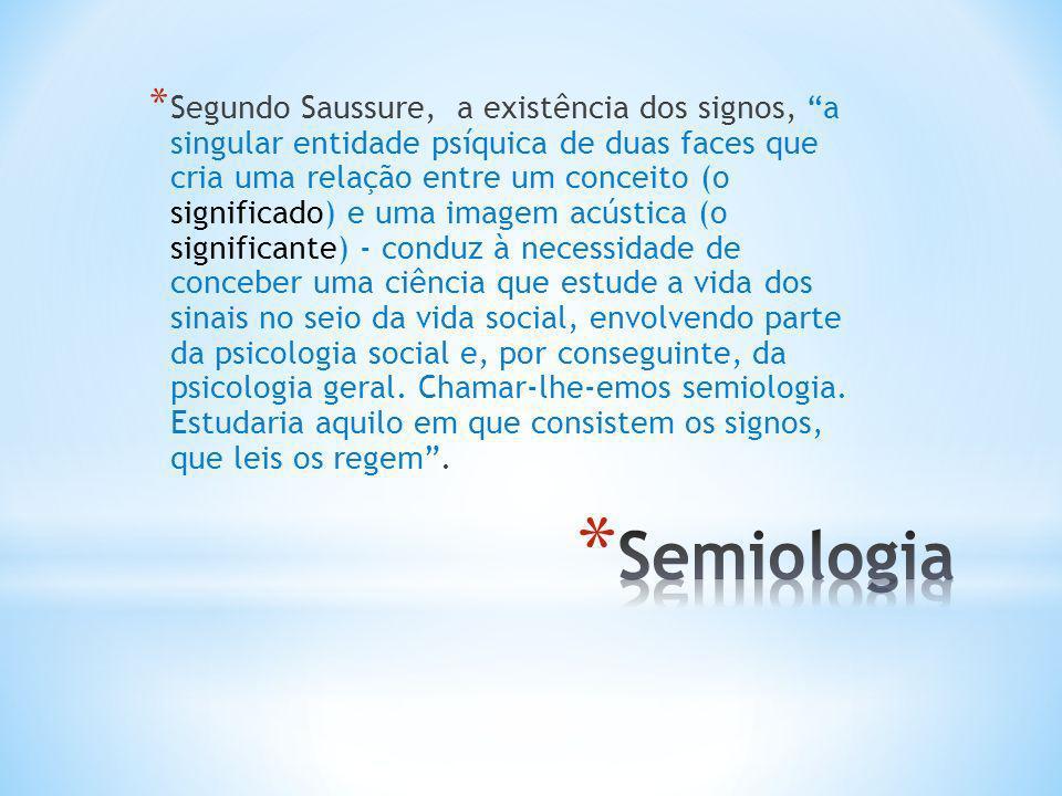 * Segundo Saussure, a existência dos signos, a singular entidade psíquica de duas faces que cria uma relação entre um conceito (o significado) e uma i