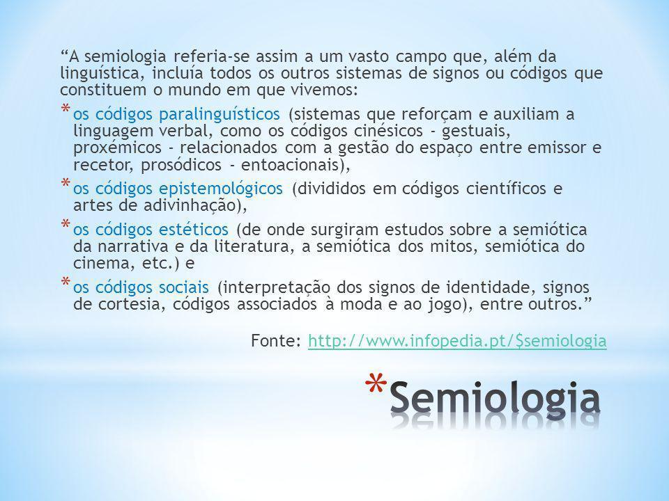 A semiologia referia-se assim a um vasto campo que, além da linguística, incluía todos os outros sistemas de signos ou códigos que constituem o mundo