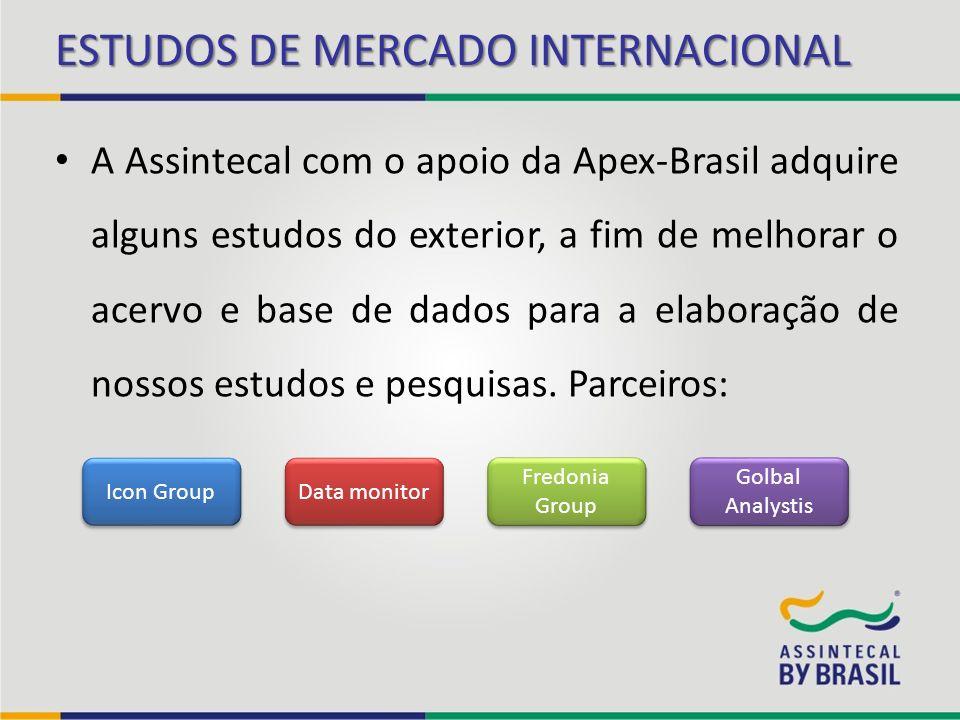 A Assintecal com o apoio da Apex-Brasil adquire alguns estudos do exterior, a fim de melhorar o acervo e base de dados para a elaboração de nossos est