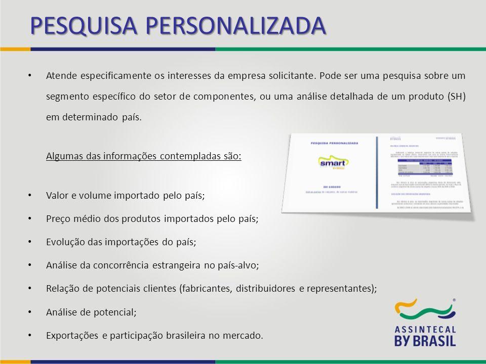 PESQUISA PERSONALIZADA Atende especificamente os interesses da empresa solicitante. Pode ser uma pesquisa sobre um segmento específico do setor de com