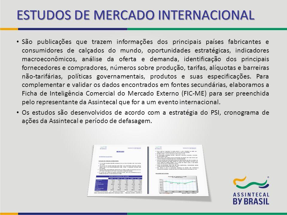ESTUDOS DE MERCADO INTERNACIONAL São publicações que trazem informações dos principais países fabricantes e consumidores de calçados do mundo, oportun