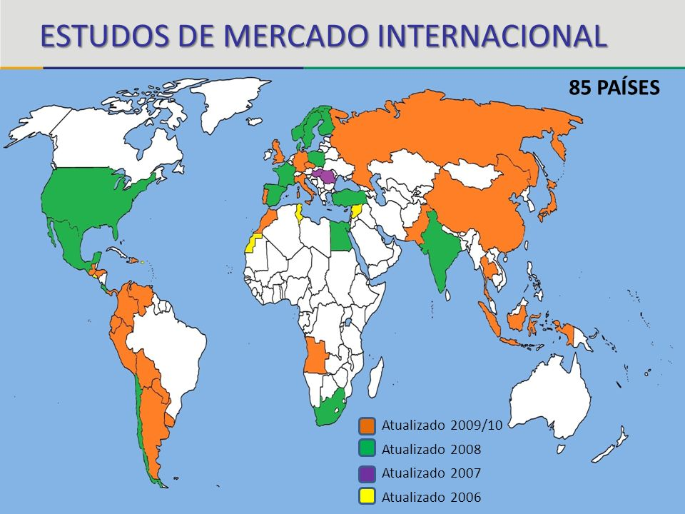 85 PAÍSES Atualizado 2009/10 Atualizado 2008 Atualizado 2007 Atualizado 2006 ESTUDOS DE MERCADO INTERNACIONAL