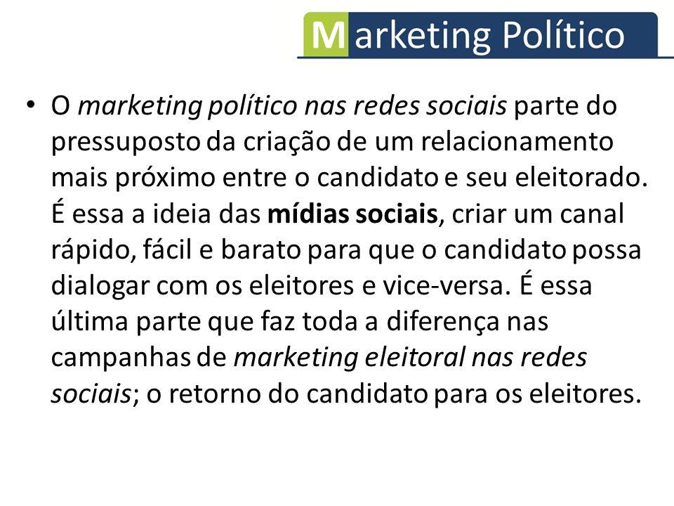 O marketing político nas redes sociais parte do pressuposto da criação de um relacionamento mais próximo entre o candidato e seu eleitorado. É essa a