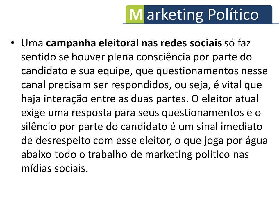 Uma campanha eleitoral nas redes sociais só faz sentido se houver plena consciência por parte do candidato e sua equipe, que questionamentos nesse can