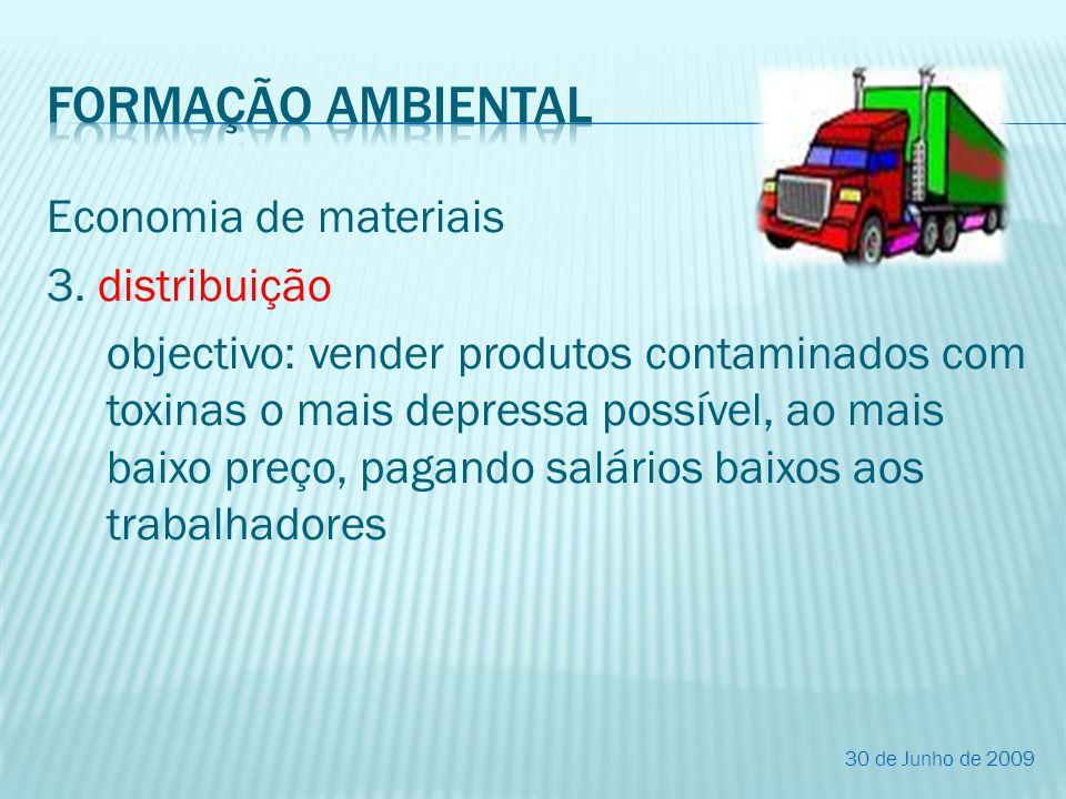 Economia de materiais 3. distribuição objectivo: vender produtos contaminados com toxinas o mais depressa possível, ao mais baixo preço, pagando salár