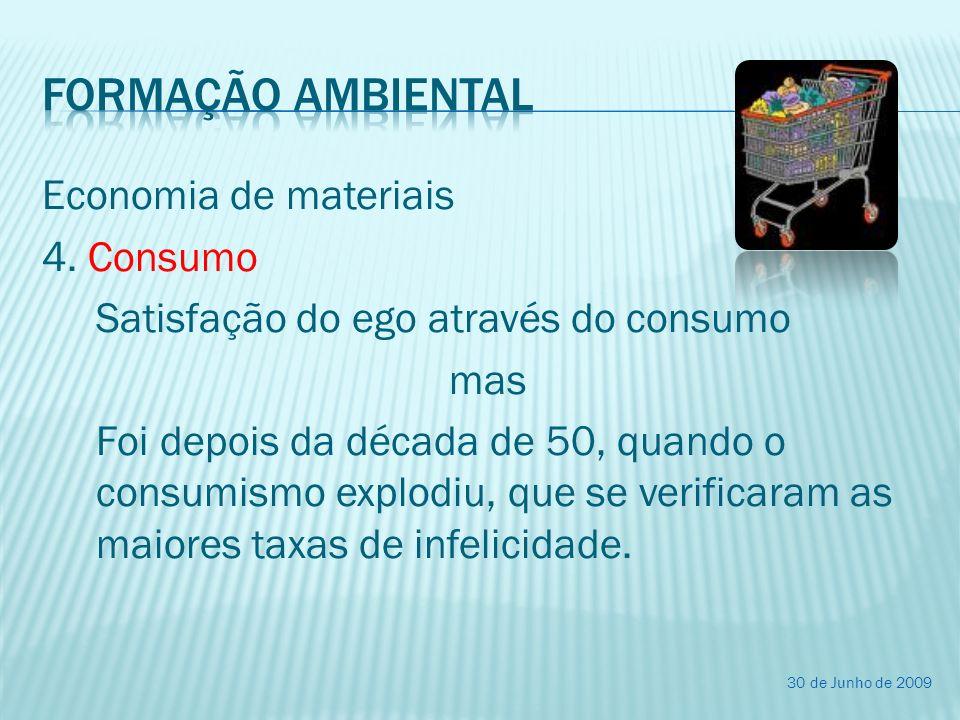 Economia de materiais 4. Consumo Satisfação do ego através do consumo mas Foi depois da década de 50, quando o consumismo explodiu, que se verificaram