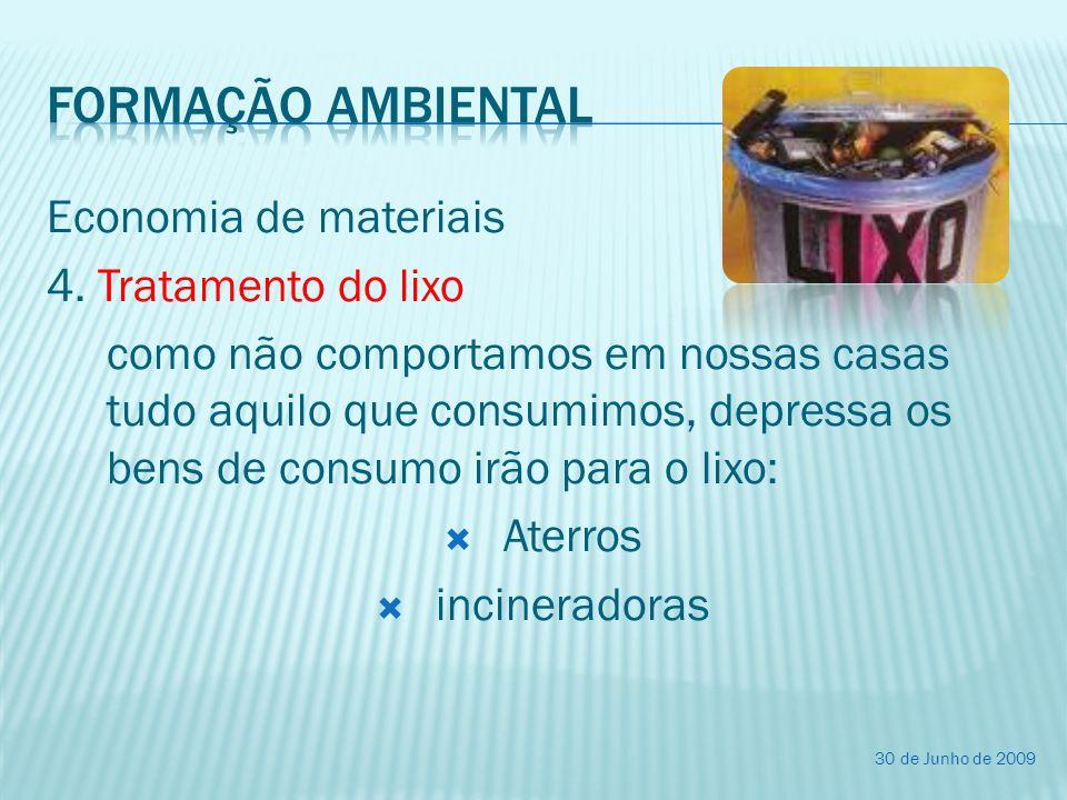 Economia de materiais 4. Tratamento do lixo como não comportamos em nossas casas tudo aquilo que consumimos, depressa os bens de consumo irão para o l