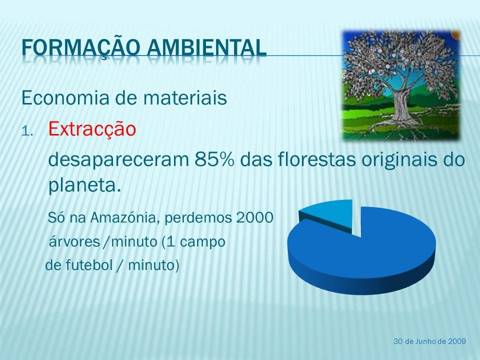 Economia de materiais 1. Extracção desapareceram 85% das florestas originais do planeta. Só na Amazónia, perdemos 2000 árvores /minuto (1 campo de fut