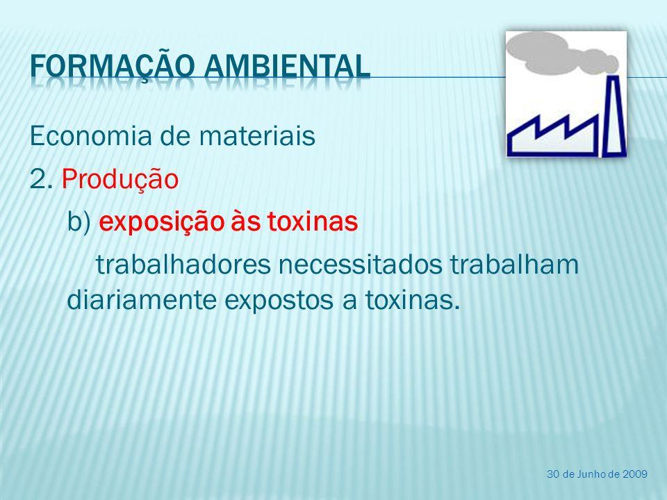 Economia de materiais 2. Produção b) exposição às toxinas trabalhadores necessitados trabalham diariamente expostos a toxinas. 30 de Junho de 2009
