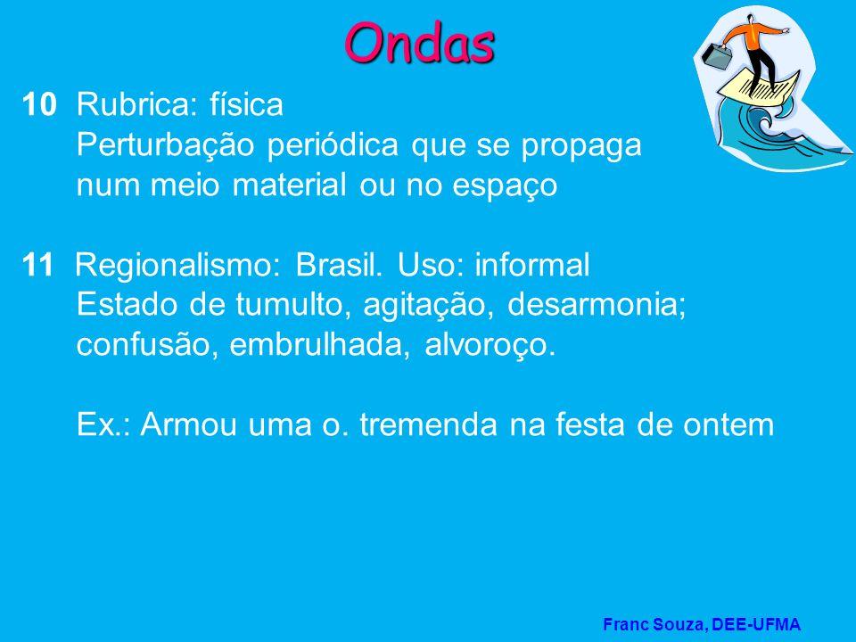 Franc Souza, DEE-UFMA Ondas 10 Rubrica: física Perturbação periódica que se propaga num meio material ou no espaço 11 Regionalismo: Brasil. Uso: infor