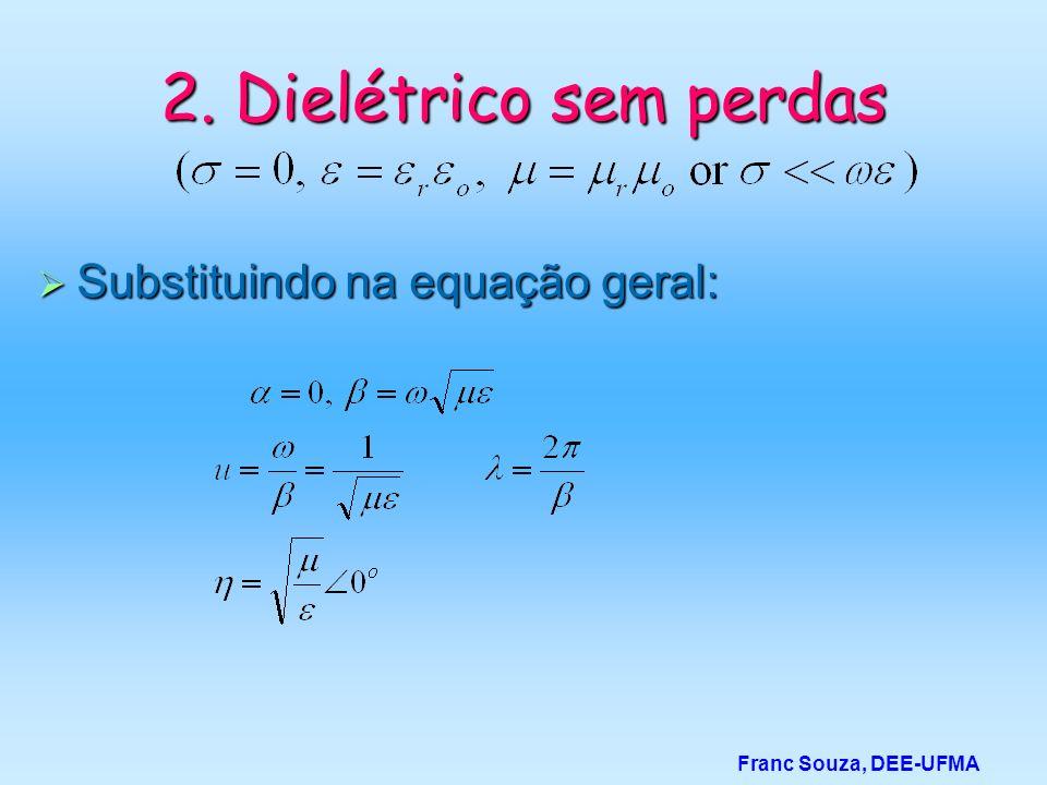 2. Dielétrico sem perdas Substituindo na equação geral: Substituindo na equação geral: Franc Souza, DEE-UFMA