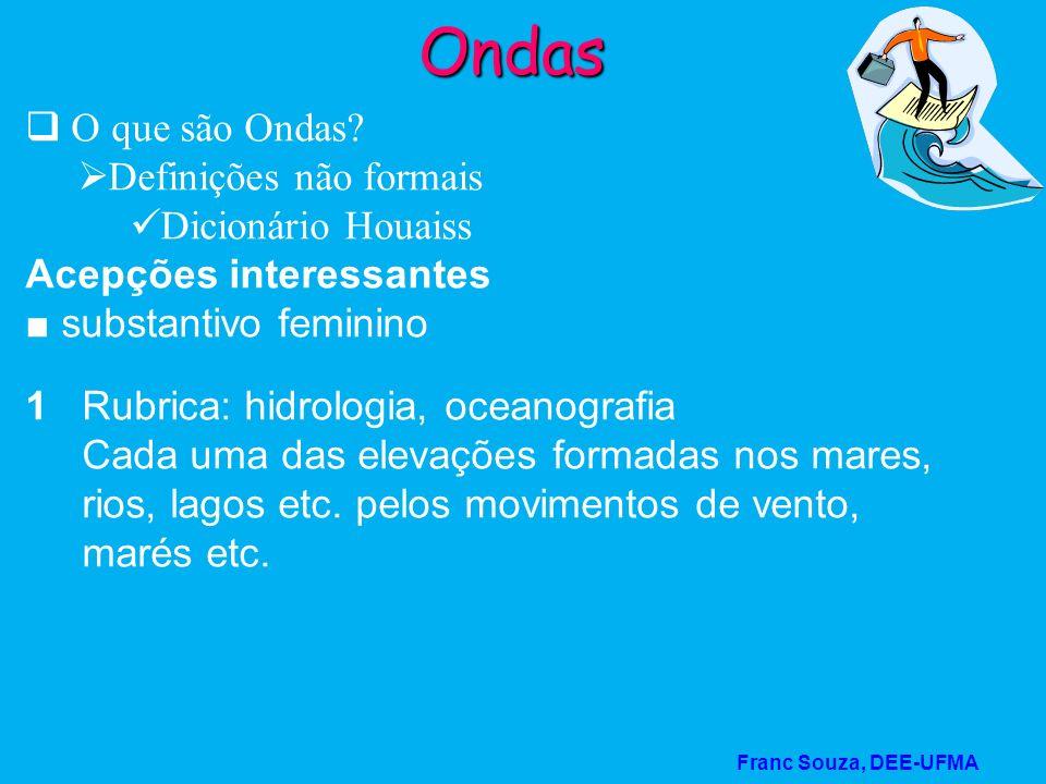 Franc Souza, DEE-UFMA Ondas O que são Ondas? Definições não formais Dicionário Houaiss Acepções interessantes substantivo feminino 1 Rubrica: hidrolog
