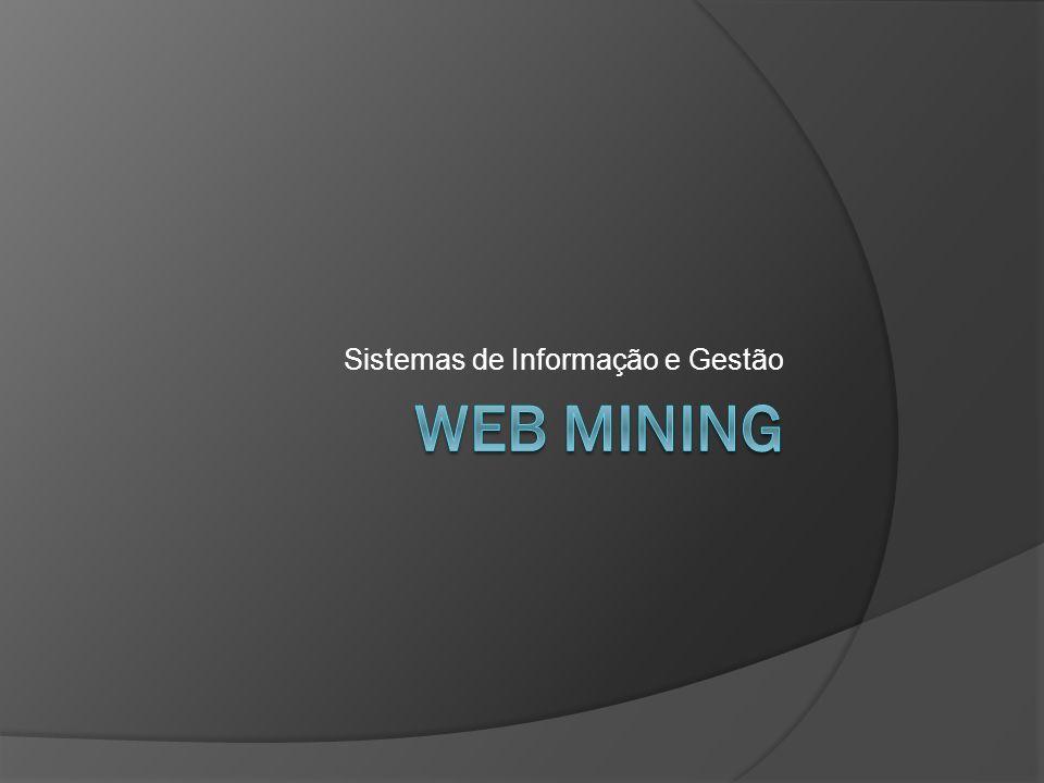 Web Mining Web mining é uma aplicação das técnicas usadas no data mining para descobrir padrões da web, Web mining pode ser dividido em três diferentes tipos: Web usage mining Web content mining Web structure mining.