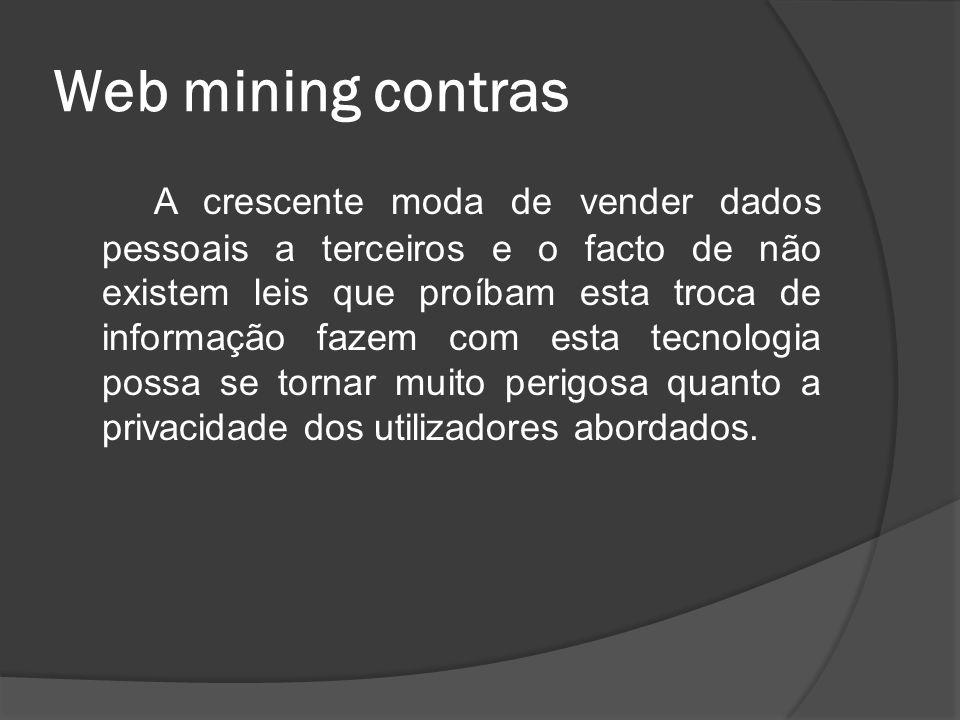 Web mining contras A crescente moda de vender dados pessoais a terceiros e o facto de não existem leis que proíbam esta troca de informação fazem com