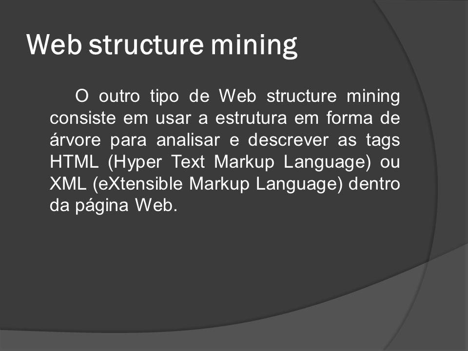 Web structure mining O outro tipo de Web structure mining consiste em usar a estrutura em forma de árvore para analisar e descrever as tags HTML (Hype
