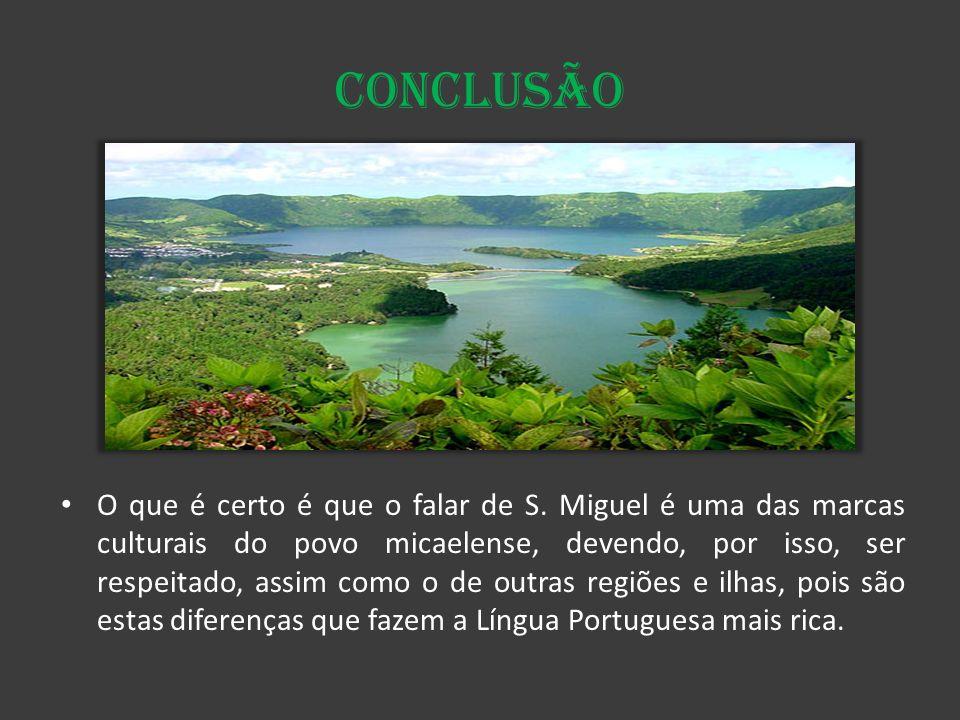 Conclusão O que é certo é que o falar de S. Miguel é uma das marcas culturais do povo micaelense, devendo, por isso, ser respeitado, assim como o de o