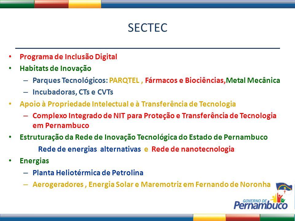 SECTEC Parques Tecnológicos: PARQTEL – Será incubado no Porto Digital durante 3 anos Fármacos e Biociências – Comporta um Centro de Treinamento (Associação de Universidades, Empresas e Governo), Produção de Fármacos e Medicamentos (Sistfarma), Química Verde (QuimVer), Biologia Sintética (BioSin), Biotecnologia (Biotec) e Fitoterápicos (FitoPlan).