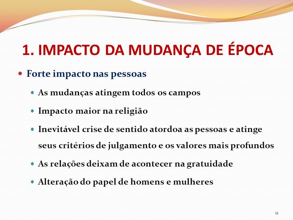 Forte impacto nas pessoas As mudanças atingem todos os campos Impacto maior na religião Inevitável crise de sentido atordoa as pessoas e atinge seus c