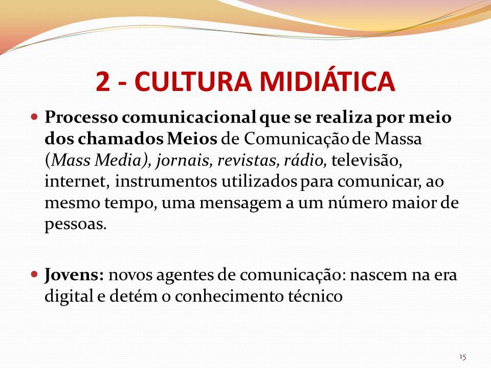 2 - CULTURA MIDIÁTICA Processo comunicacional que se realiza por meio dos chamados Meios de Comunicação de Massa (Mass Media), jornais, revistas, rádi