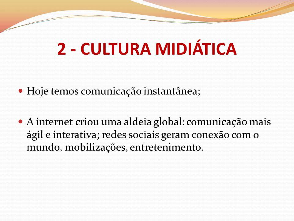 Hoje temos comunicação instantânea; A internet criou uma aldeia global: comunicação mais ágil e interativa; redes sociais geram conexão com o mundo, m
