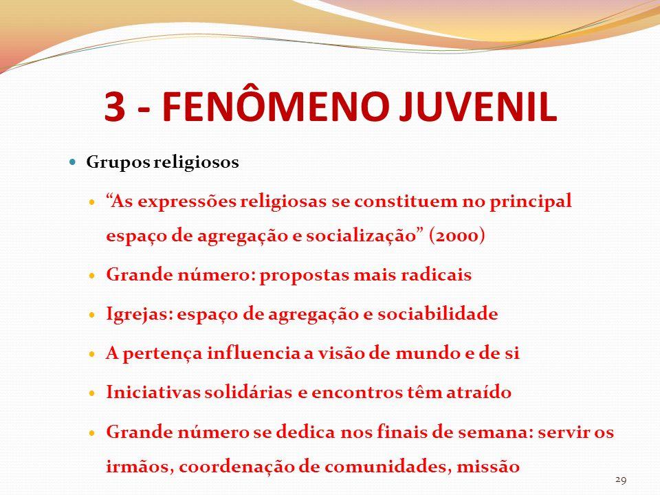 3 - FENÔMENO JUVENIL Grupos religiosos As expressões religiosas se constituem no principal espaço de agregação e socialização (2000) Grande número: pr
