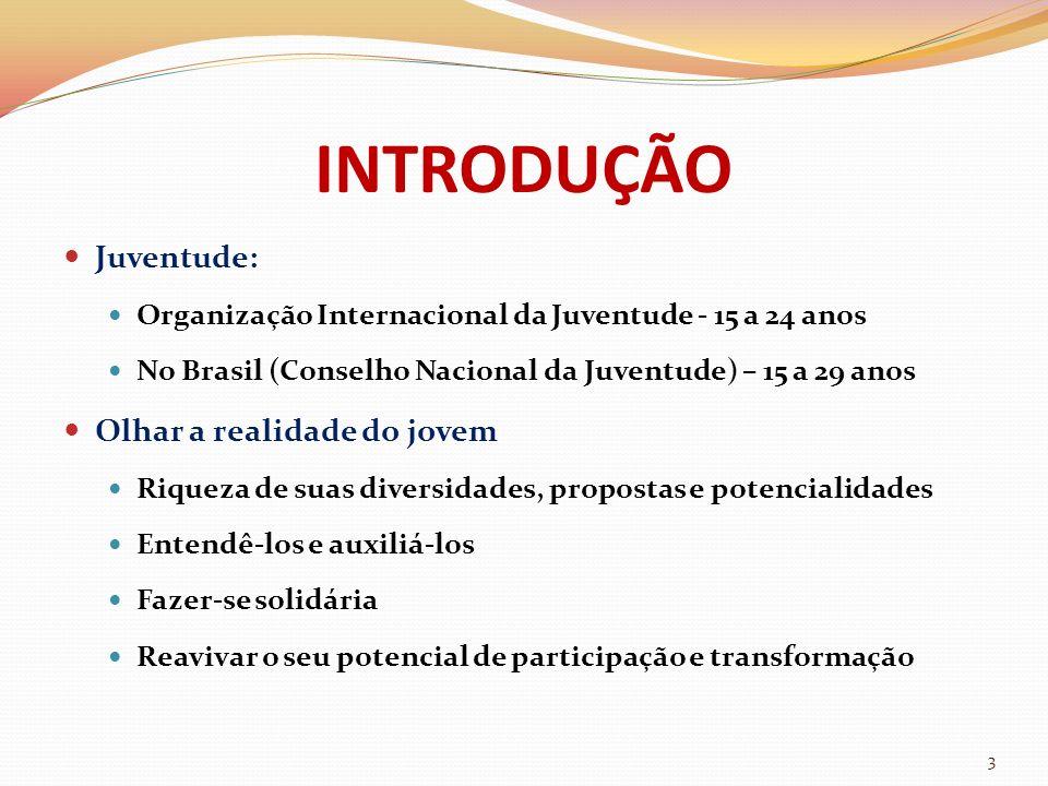 INTRODUÇÃO Juventude: Organização Internacional da Juventude - 15 a 24 anos No Brasil (Conselho Nacional da Juventude) – 15 a 29 anos Olhar a realidad