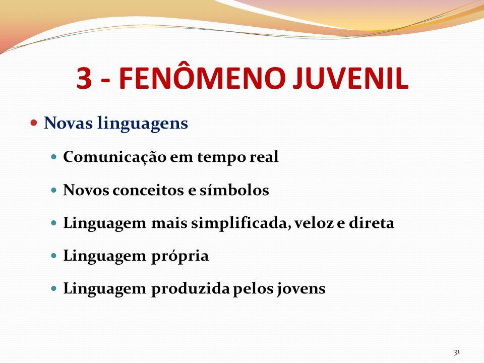 3 - FENÔMENO JUVENIL Novas linguagens Comunicação em tempo real Novos conceitos e símbolos Linguagem mais simplificada, veloz e direta Linguagem própr