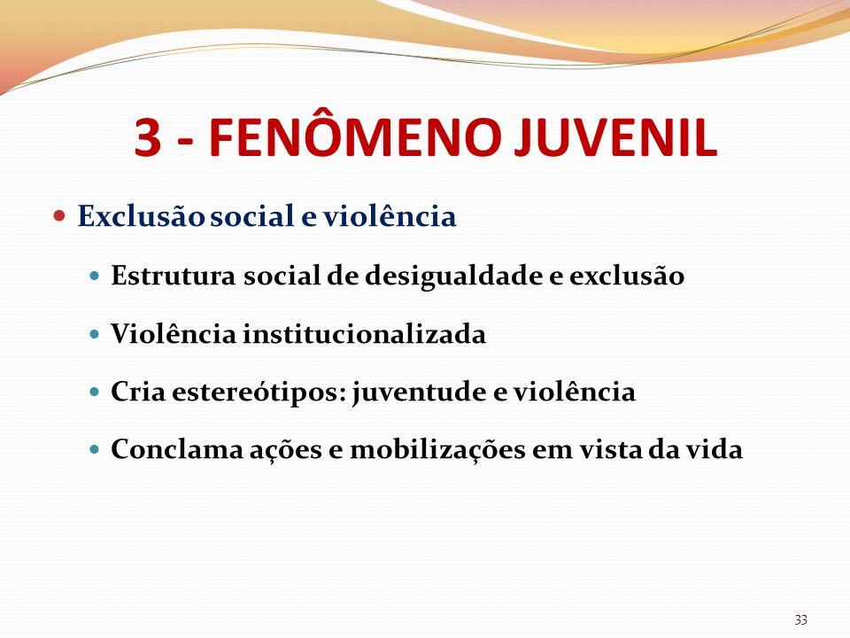 3 - FENÔMENO JUVENIL Exclusão social e violência Estrutura social de desigualdade e exclusão Violência institucionalizada Cria estereótipos: juventude