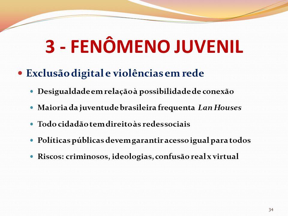 3 - FENÔMENO JUVENIL Exclusão digital e violências em rede Desigualdade em relação à possibilidade de conexão Maioria da juventude brasileira frequent
