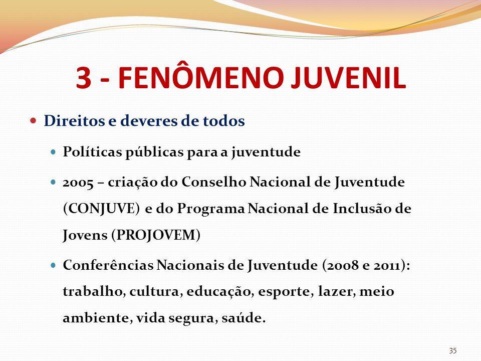 3 - FENÔMENO JUVENIL Direitos e deveres de todos Políticas públicas para a juventude 2005 – criação do Conselho Nacional de Juventude (CONJUVE) e do P